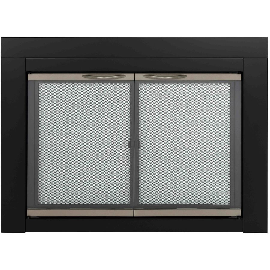 Pleasant Hearth Alsip Black with Sunlight Nickel Trim Large Cabinet-Style Fireplace Doors with Clear Tempered Glass