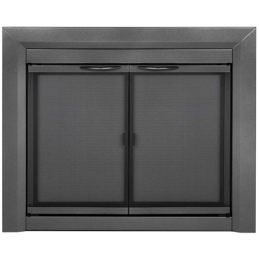 Pleasant Hearth Craton Gunmetal Medium Cabinet-Style Fireplace Doors with Smoke Tempered Glass