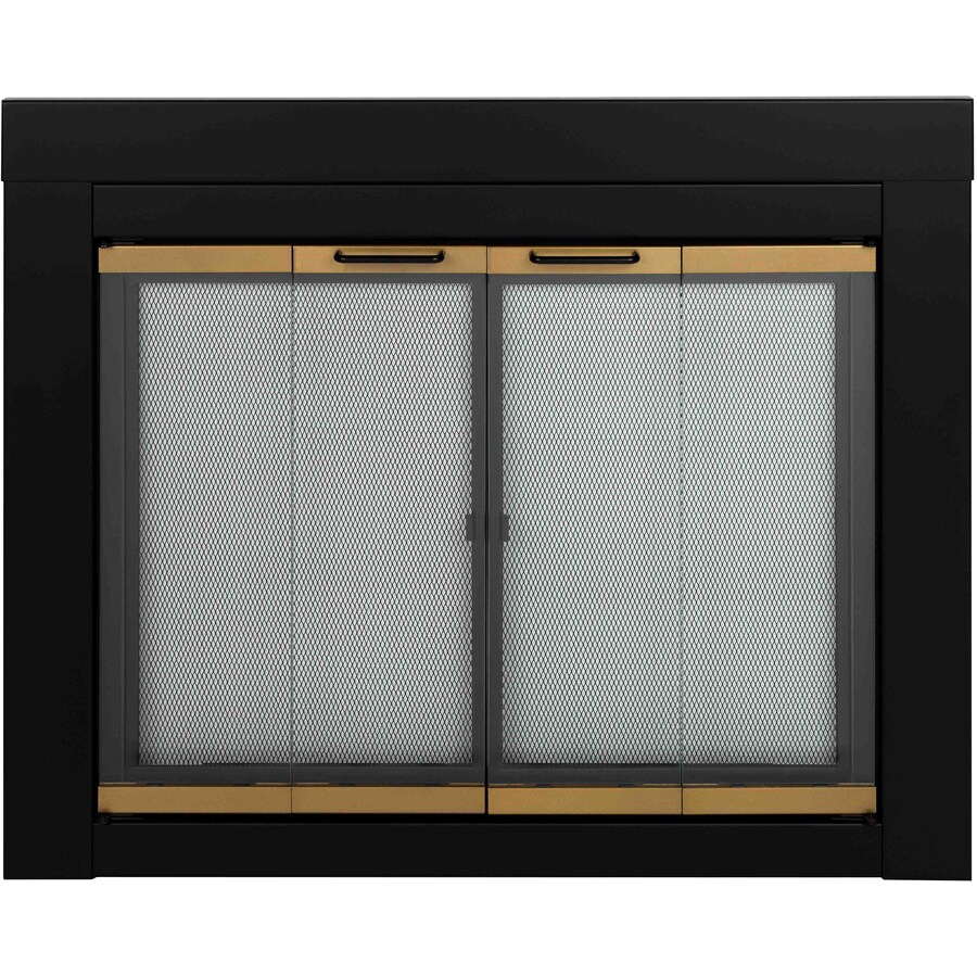 Pleasant Hearth Arrington Black with Moonlight Gold Trim Medium Bi-Fold Fireplace Doors with Clear Tempered Glass