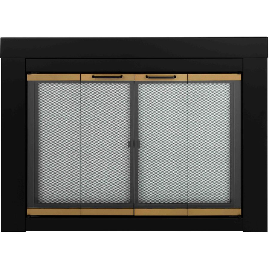 Pleasant Hearth Arrington Black with Moonlight Gold Trim Large Bi-Fold Fireplace Doors with Clear Tempered Glass