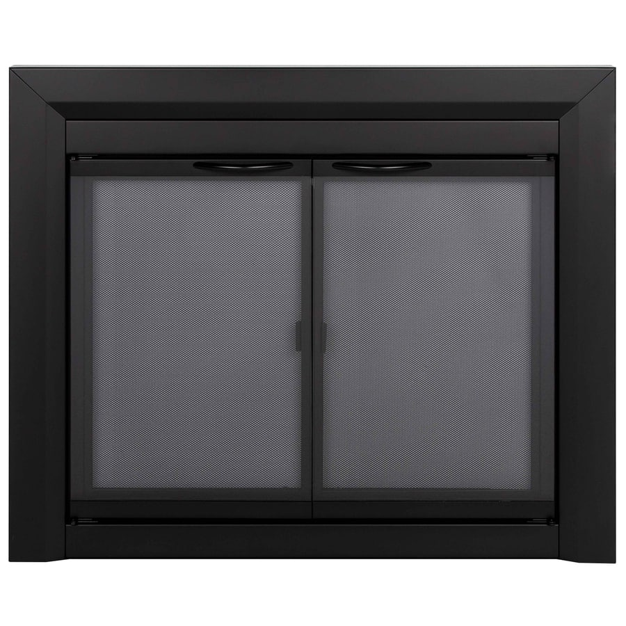 Pleasant Hearth Carlisle Black Medium Cabinet-Style Fireplace Doors with Smoke Tempered Glass