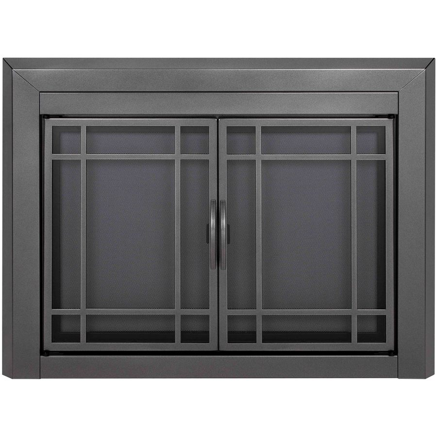 Pleasant Hearth Edinburg Gunmetal Small Cabinet-Style Fireplace Doors with Smoke Tempered Glass