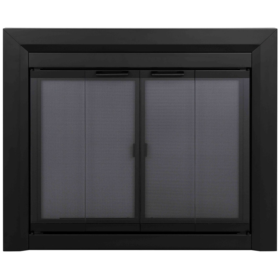 Shop Pleasant Hearth Clairmont Black Medium Bi Fold Fireplace Doors With Smoke Tempered Glass At