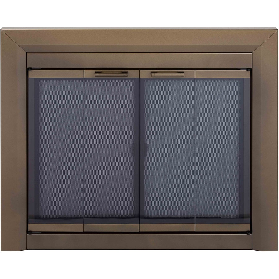 Pleasant Hearth Carrington Antique Brass Medium Bi-Fold Fireplace Doors with Smoke Tempered Glass