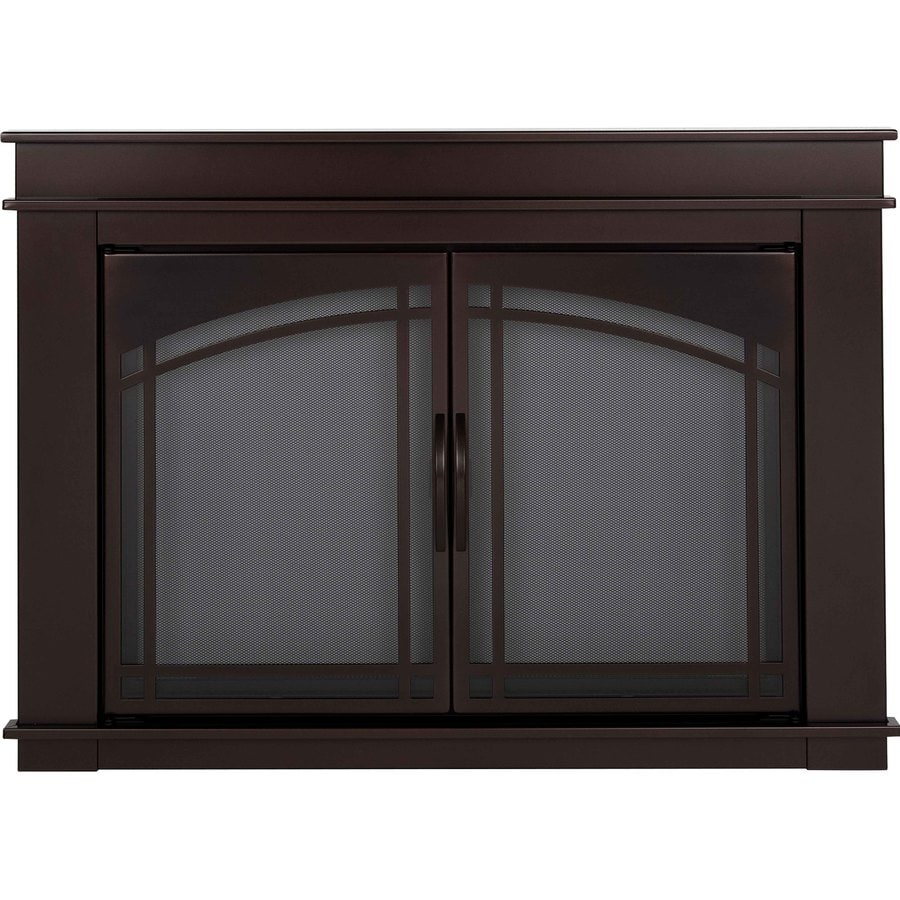 Shop Pleasant Hearth Fenwick Oil Rubbed Bronze Small Cabinet Style Fireplace Doors With Smoke