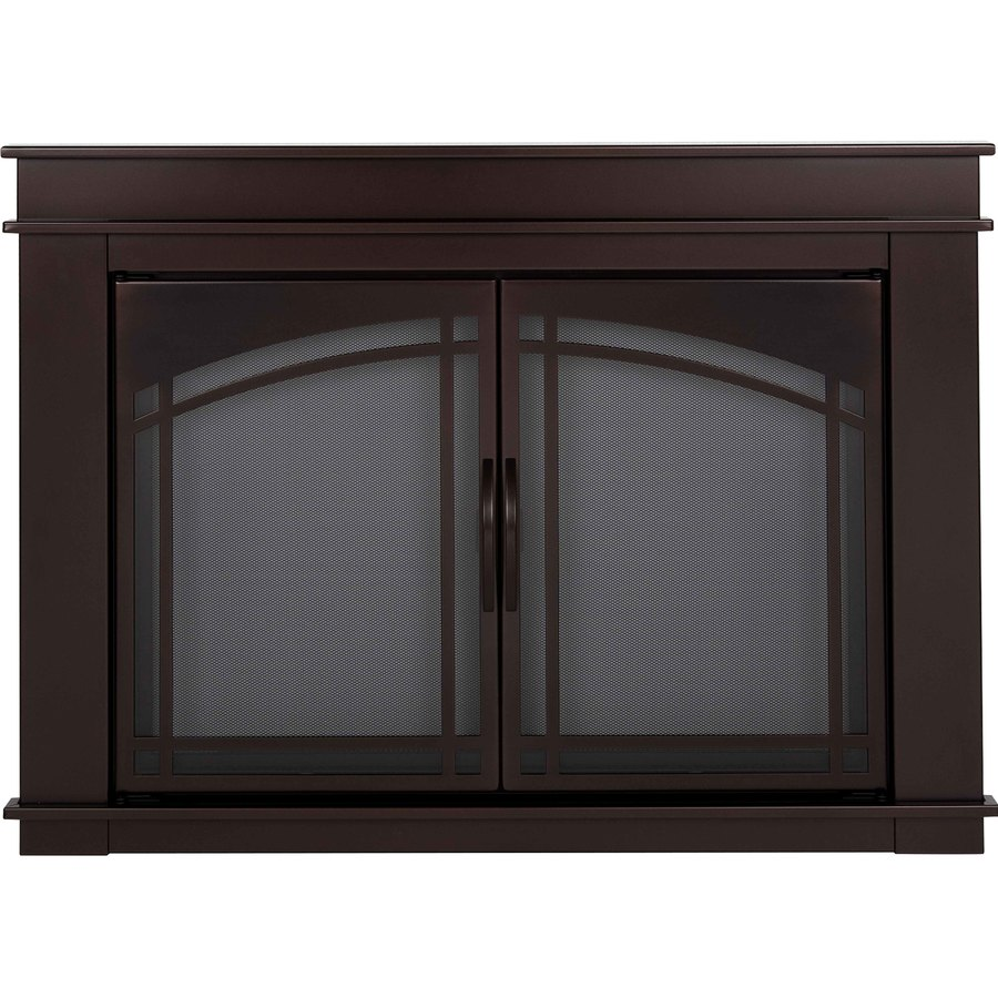 Pleasant Hearth Fenwick Oil-Rubbed Bronze Large Cabinet-Style Fireplace Doors with Smoke Tempered Glass