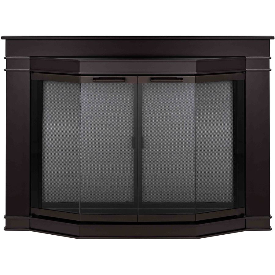 Shop Pleasant Hearth Glacier Bay Oil Rubbed Bronze Medium Bi Fold Bay Fireplace Doors With Smoke