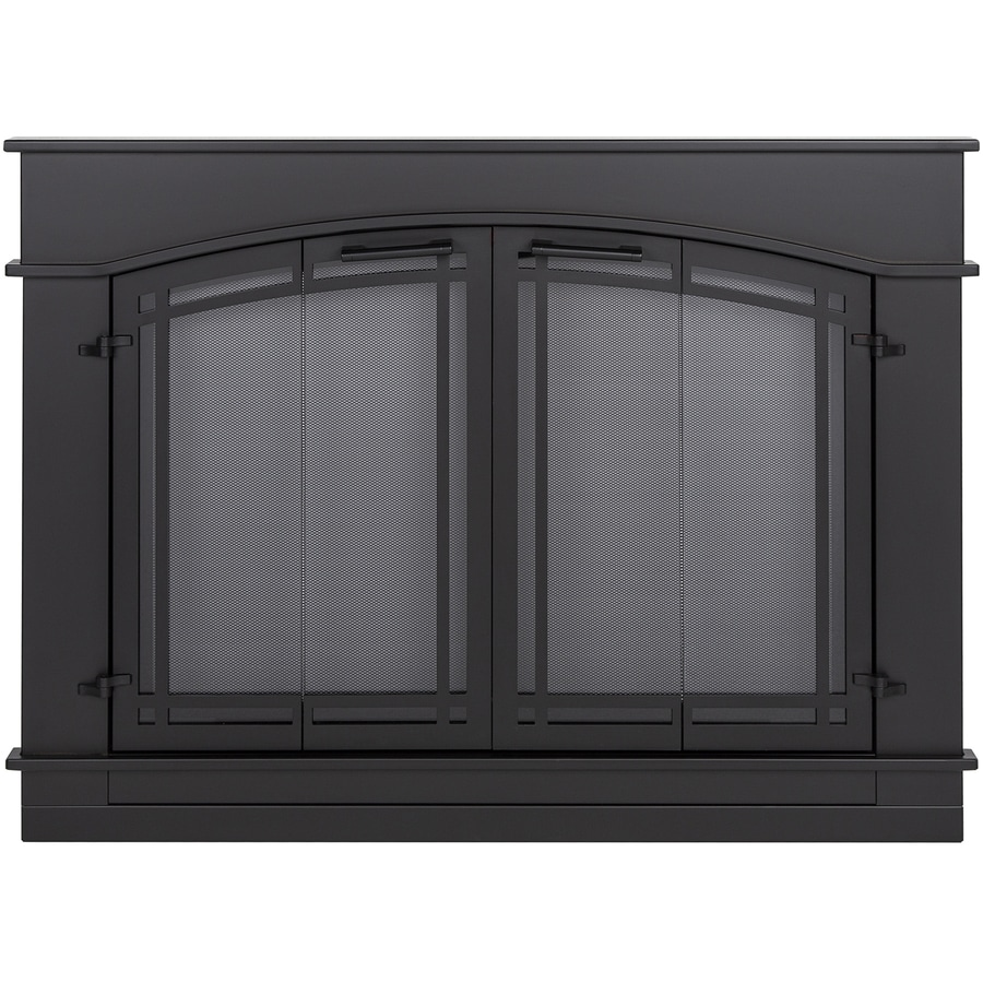 Pleasant Hearth Fieldcrest Black Small Bi-Fold Fireplace Doors with Smoke Tempered Glass