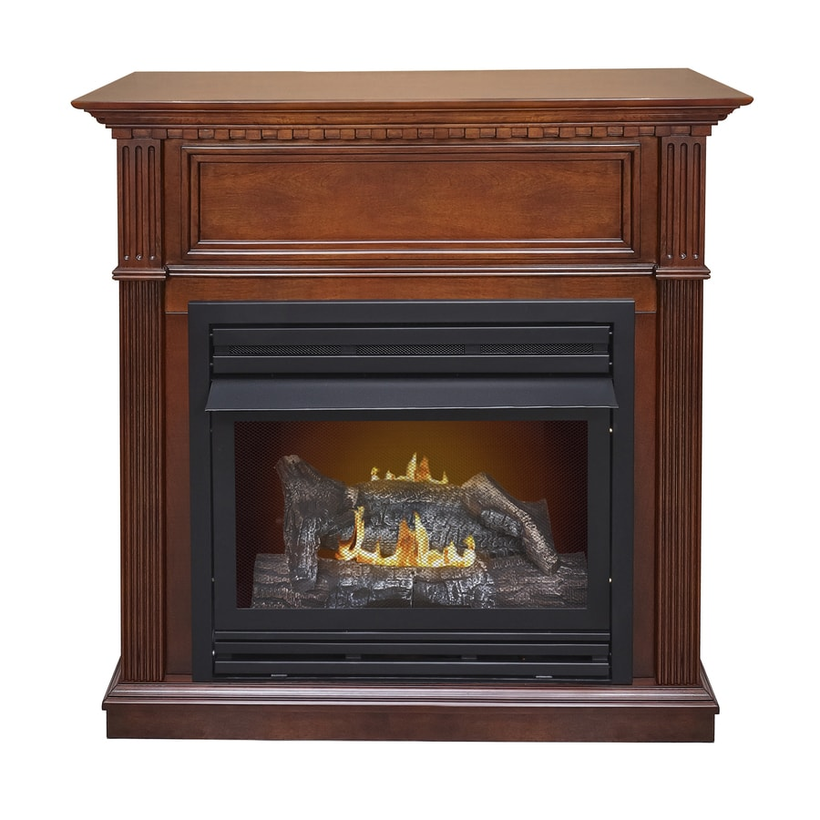 Pleasant Hearth 42-in Dual-Burner Vent-Free Cherry Corner Liquid Propane or Natural Gas Fireplace with Thermostat