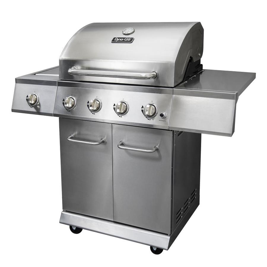 shop dyna glo stainless steel 4 burner 52 000 btu liquid propane gas grill with side burner at. Black Bedroom Furniture Sets. Home Design Ideas