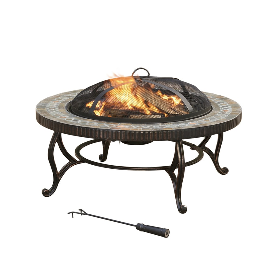 Shop Pleasant Hearth 34 In W Rubbed Bronze Steel Wood