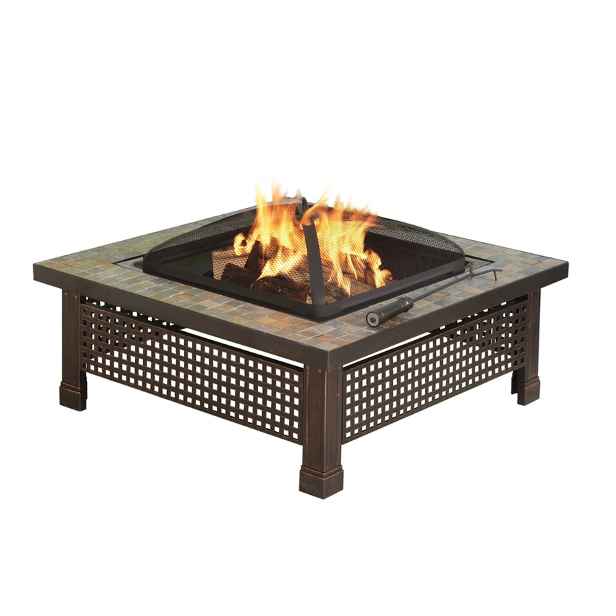 Pleasant Hearth Bradford 34-in W Rubbed Bronze Steel Wood-Burning Fire Pit