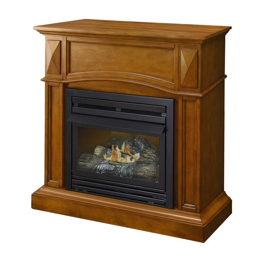 Pleasant Hearth 35.75-in Dual-Burner Vent-Free Heritage Corner or Flat Wall Natural Gas Fireplace with Thermostat and Blower