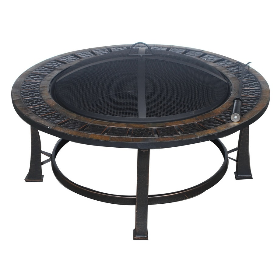 Garden Treasures 39.96-in W Rubbed Bronze Steel Wood-Burning Fire Pit