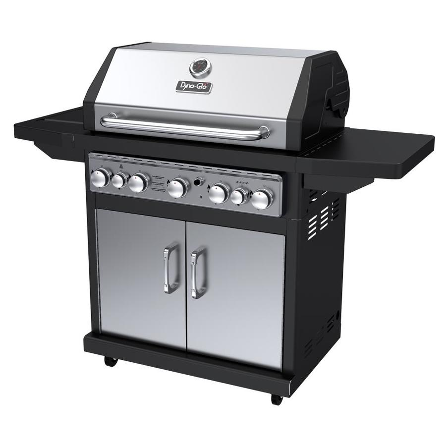 Dyna-Glo Black and Stainless Steel 5-Burner (79,000-BTU) Liquid Propane Gas Grill with Side and Rotisserie Burners