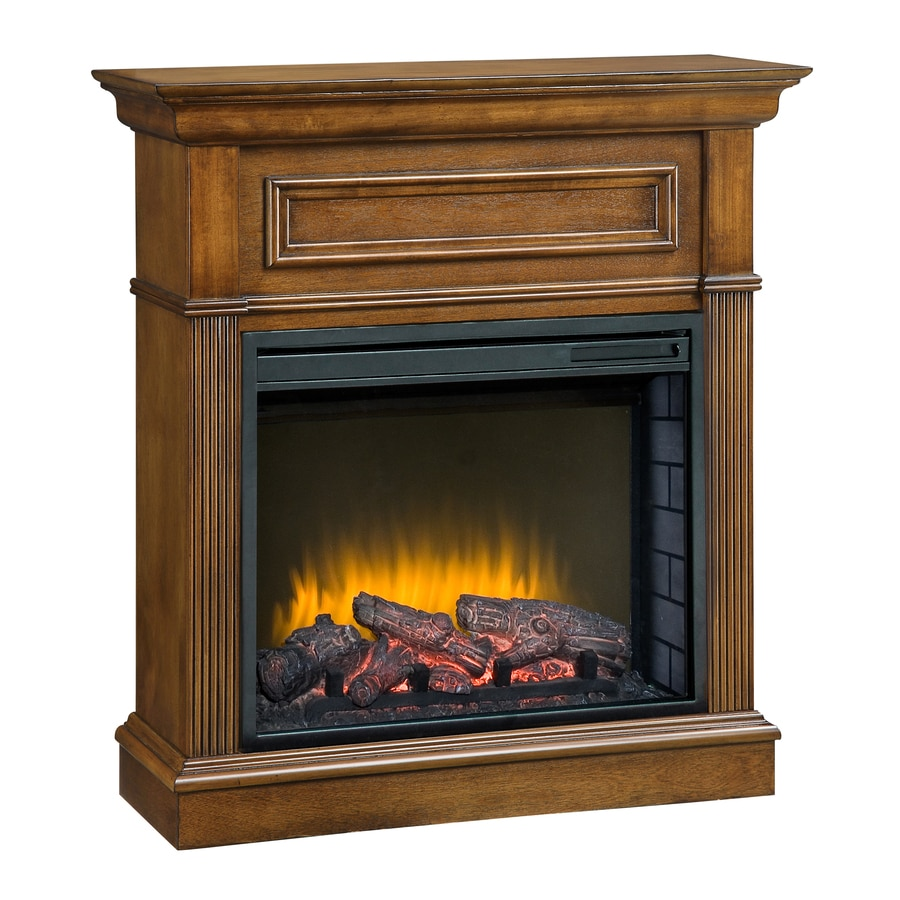 Pleasant Hearth 34.2-in W 4,600-BTU Heritage Wood Fan-Forced Electric Fireplace with Thermostat and Remote Control