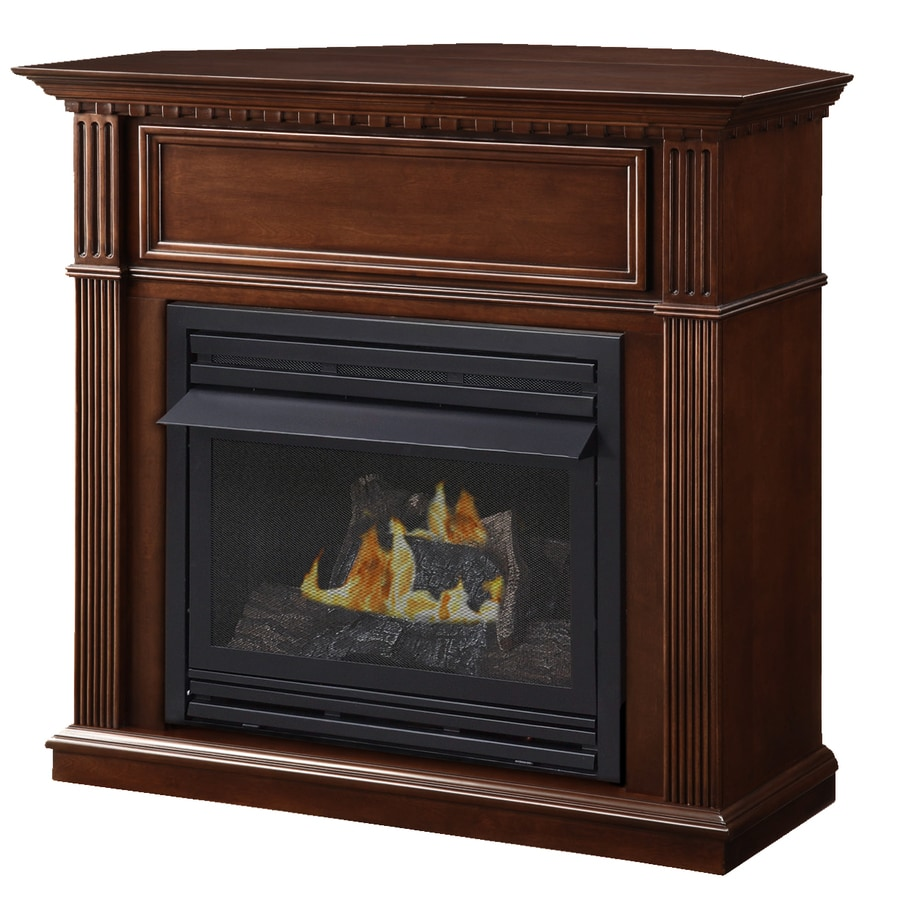 Pleasant Hearth 42-in Dual-Burner Vent-Free Tobacco Corner Liquid Propane or Natural Gas Fireplace with Thermostat