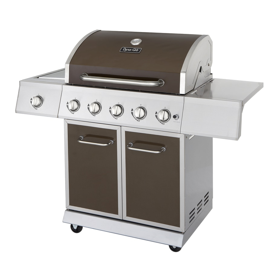 Dyna-Glo Stainless Steel and Burnished Bronze 5-Burner (50,000-BTU) Liquid Propane Gas Grill with Side Burner