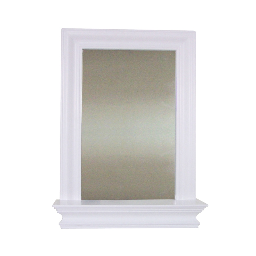 Elegant Home Fashions 24-in H x 18-in W Ford White Rectangular Bathroom Mirror