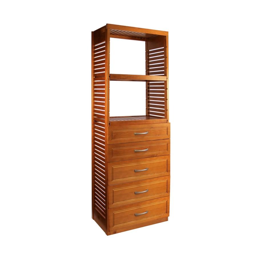 Shop John Louis Home 2 5 Ft X 72 Ft Carmel Wood Closet Kit At Lowes Com