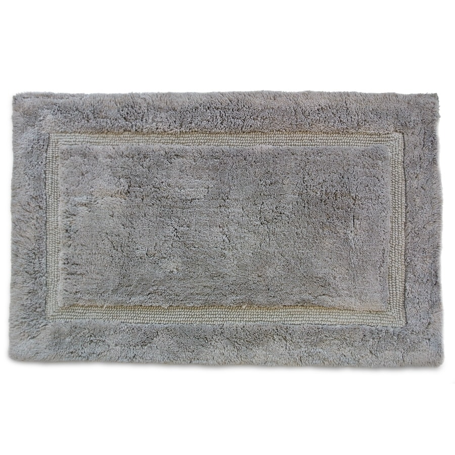 Luxury 34-in x 21-in Grey Cotton Bath Rug