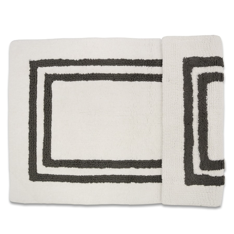 Resort 34-in x 21-in White/Grey Cotton Bath Rug