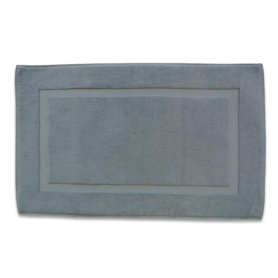 Classic 32-in x 20-in Powder Blue Cotton Bath Rug