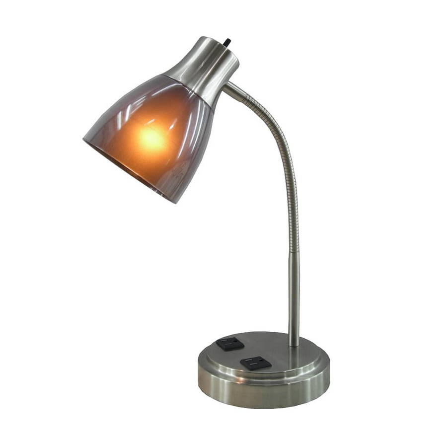 Style Selections 17-in Adjustable Brushed Nickel Desk Lamp with Plastic Shade