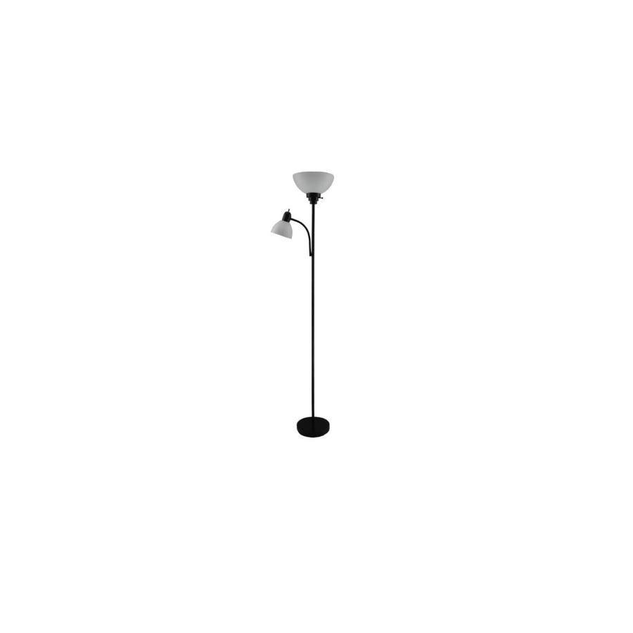 Style Selections 71-in Black Standard Torchiere with Side-Light Indoor Floor Lamp with Plastic Shade