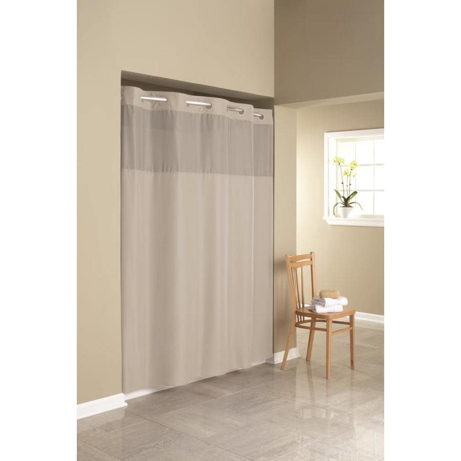 Shop Hookless Polyester Solid Stone Solid Shower Curtain At