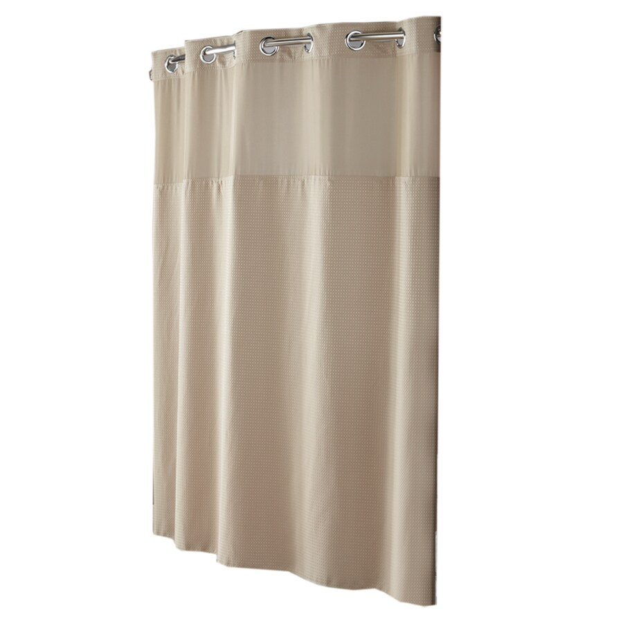 Hookless Polyester Taupe Diamond Pique Solid Shower Curtain