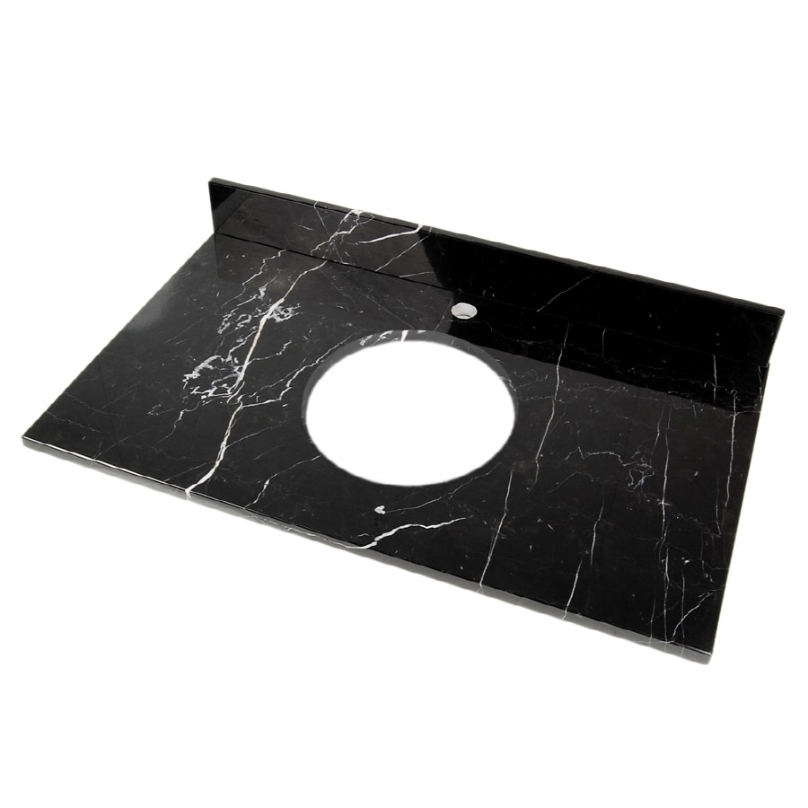 D'Vontz Natural Stone Vanity Tops Black Marquine Natural Marble Bathroom Vanity Top (Common: 37-in x 22-in; Actual: 37-in x 22-in)