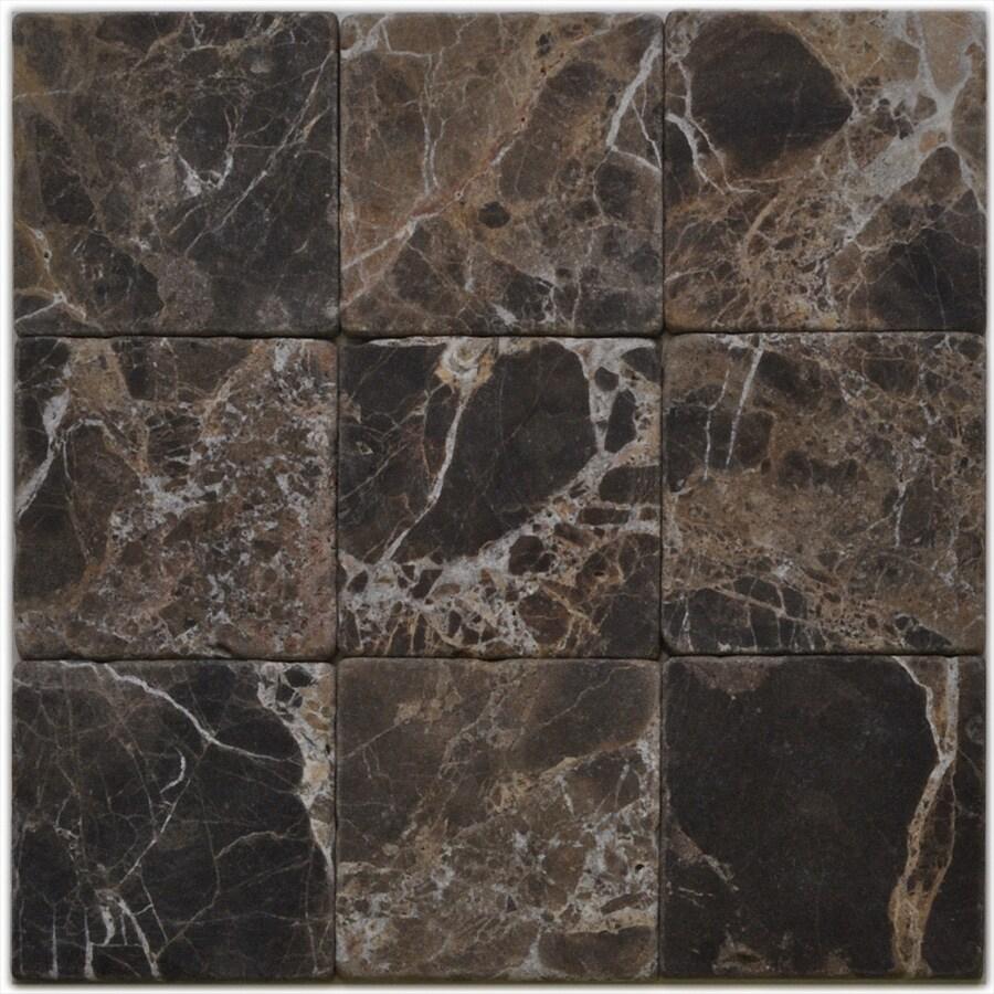 Big Pacific 4-in x 4-in Emperador Dark Marble Floor Tile