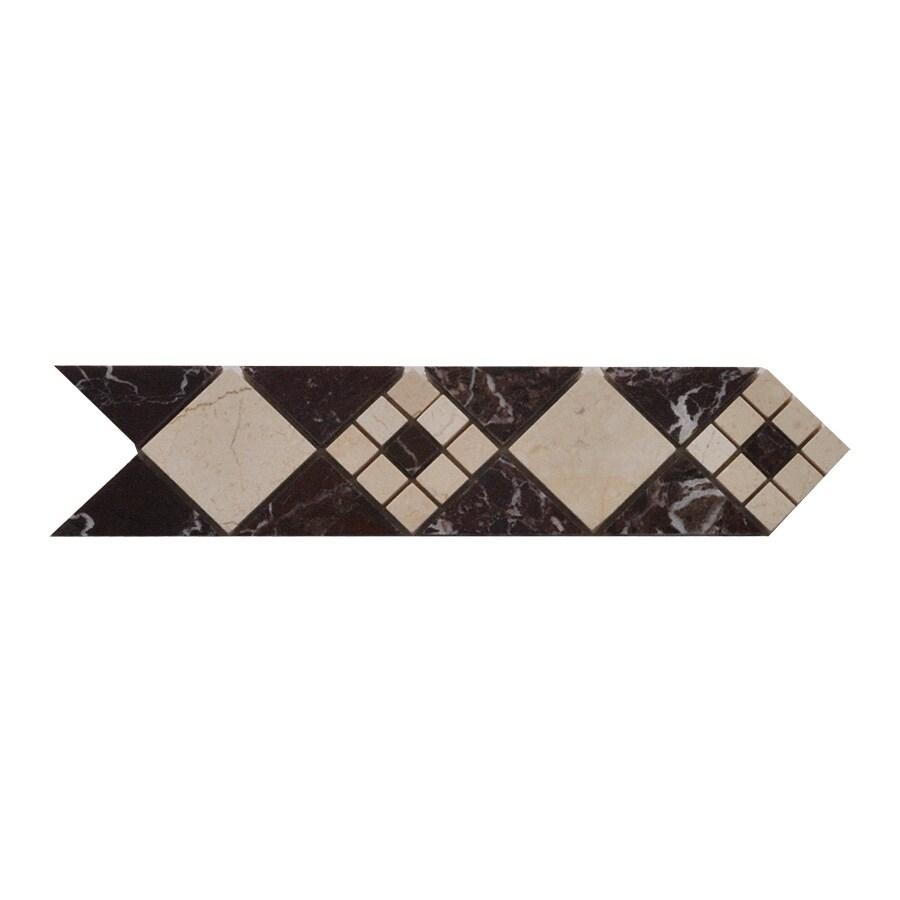 Big Pacific 3-in x 12-in Rosso Pompeii Marble Floor Tile