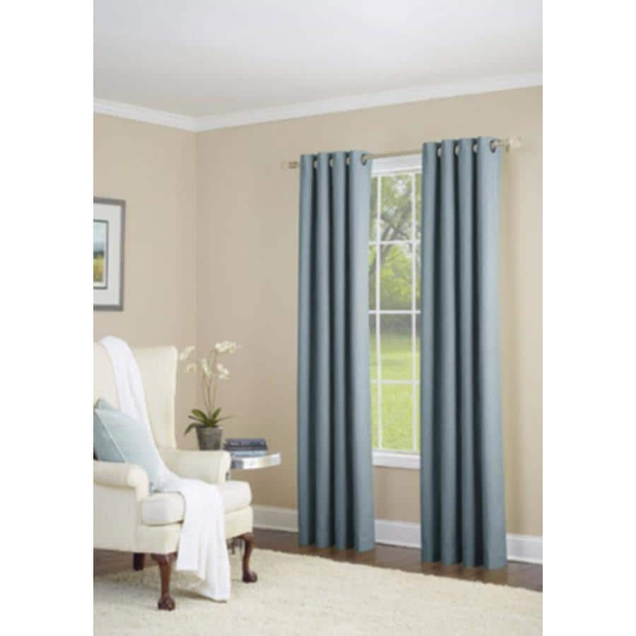 allen + roth Whinfell 95-in Sky Blue Polyester Grommet Light Filtering Single Curtain Panel