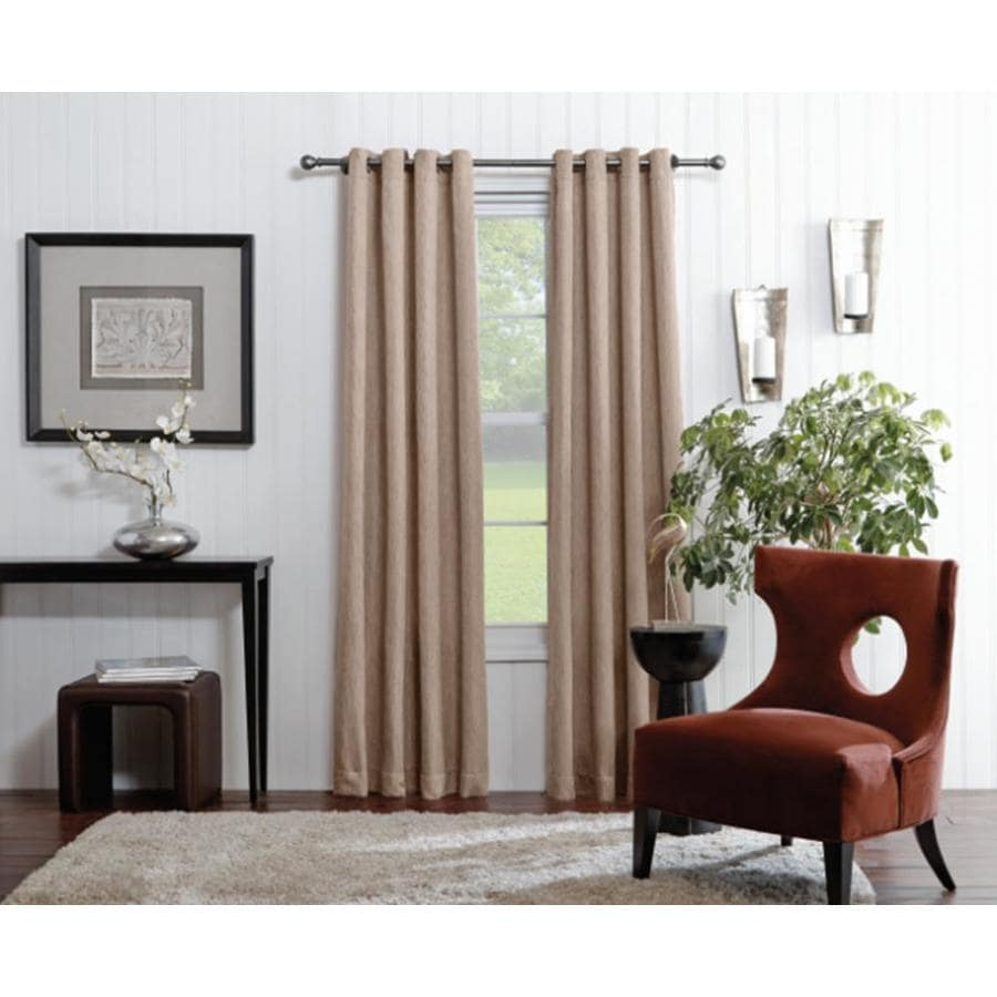 allen + roth Merriby 84-in Taupe Polyester Grommet Light Filtering Single Curtain Panel