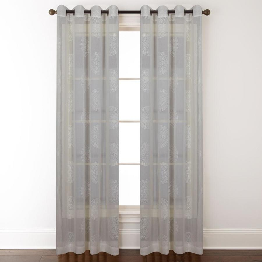 allen + roth Cressmar 63-in Ivory Polyester Grommet Light Filtering Sheer Single Curtain Panel