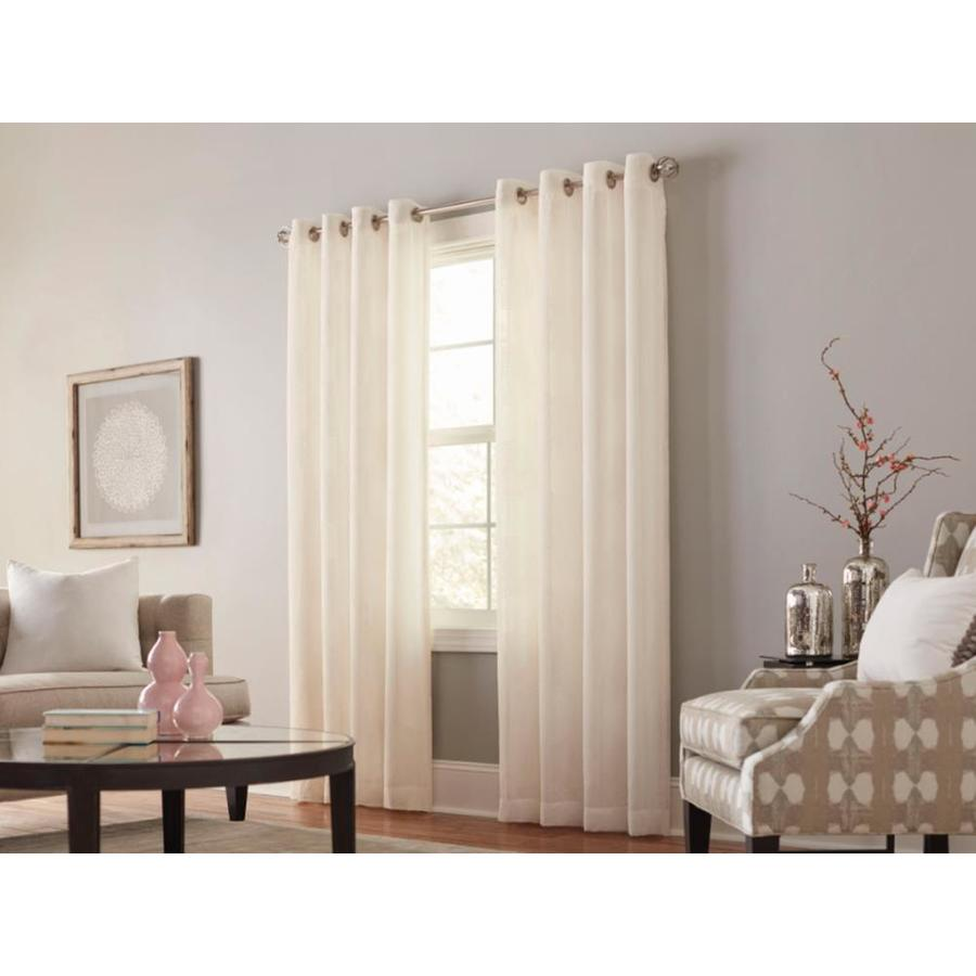 allen + roth Cressmar 95-in Ivory Polyester Grommet Light Filtering Sheer Single Curtain Panel