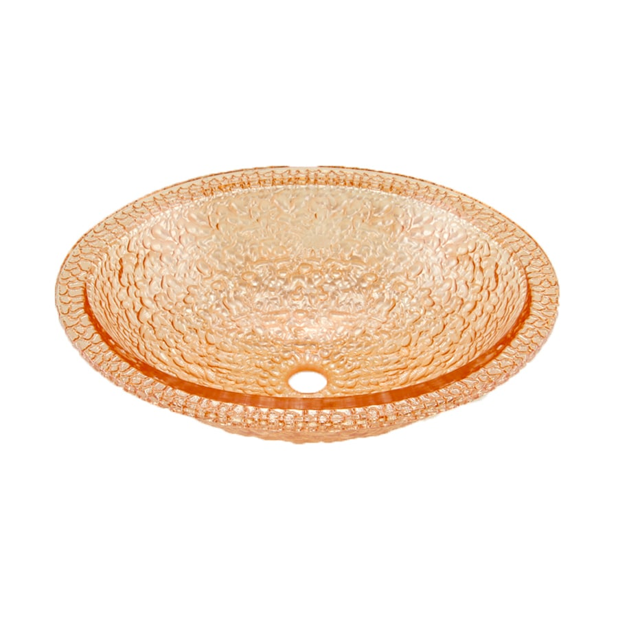 JSG Oceana Pebble Champagne Gold Glass Oval Bathroom Sink with Overflow