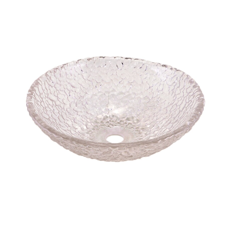 JSG Oceana Pebble Crystal Glass Vessel Round Bathroom Sink
