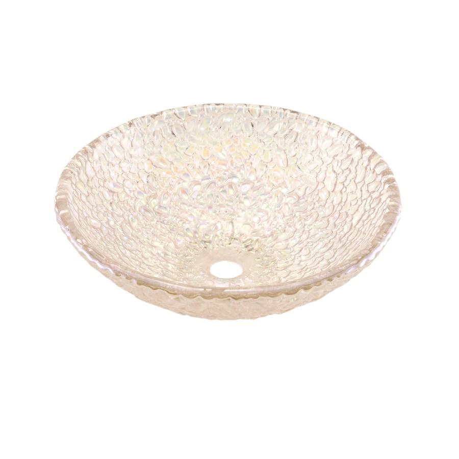 JSG Oceana Pebble Crystal Reflections Glass Vessel Round Bathroom Sink