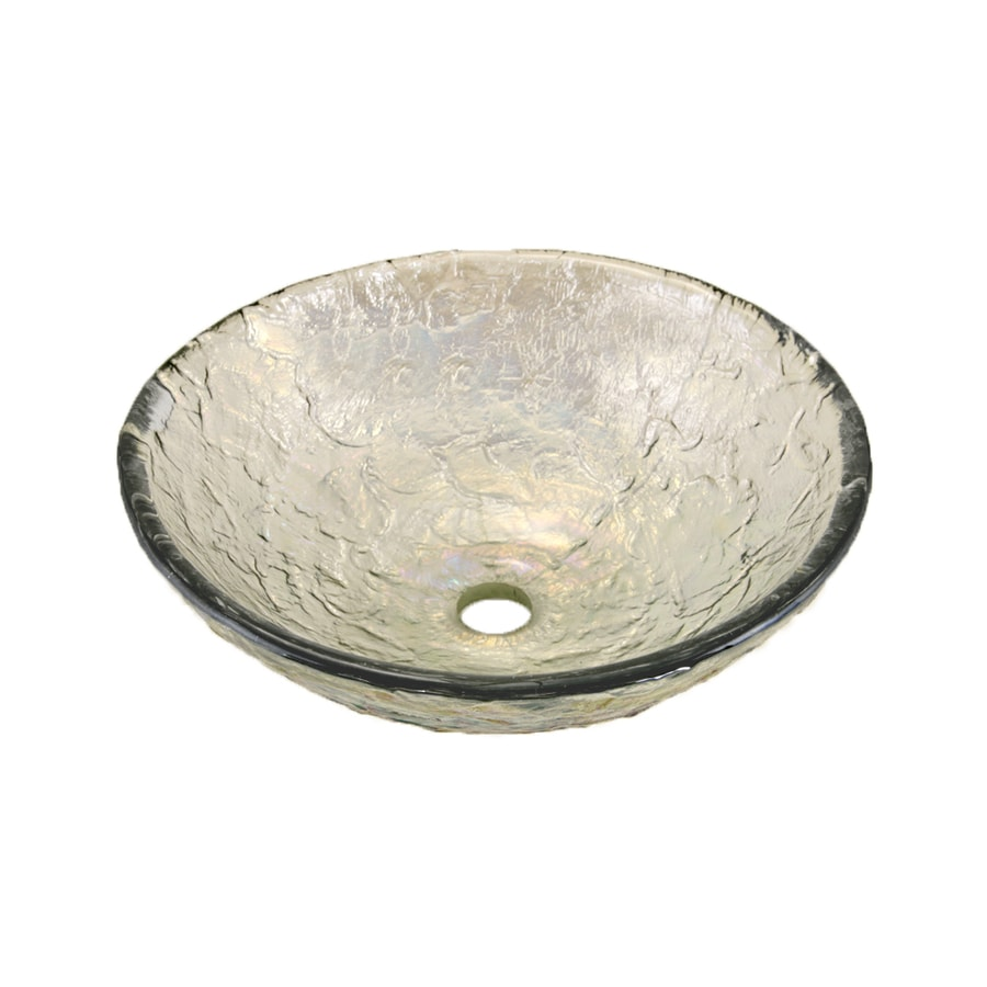 JSG Oceana Crystal Reflections Glass Vessel Round Bathroom Sink