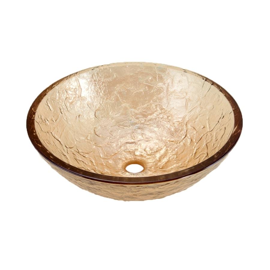 JSG Oceana Champagne Gold Glass Vessel Round Bathroom Sink