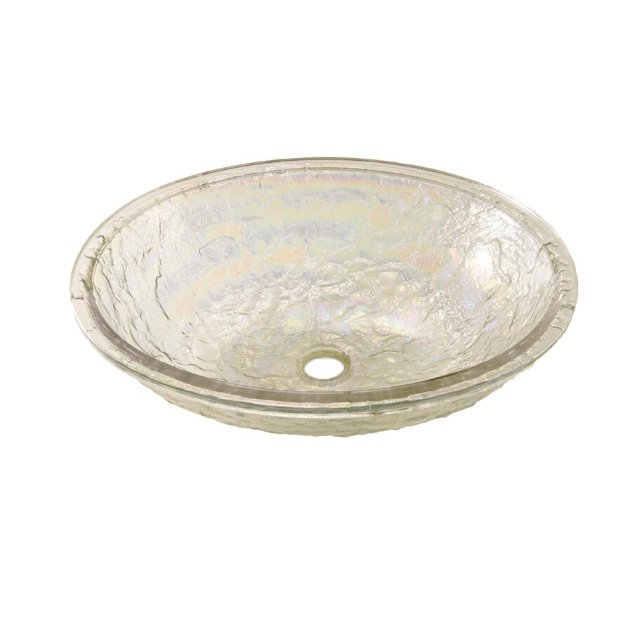 JSG Oceana Crystal Reflections Glass Undermount Oval Bathroom Sink