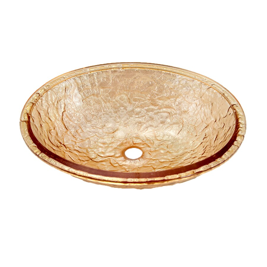 JSG Oceana Champagne Gold Glass Undermount Oval Bathroom Sink