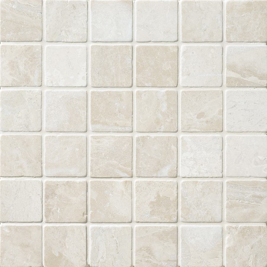 Shop bermar natural stone royal beige tumbled marble floor for Fan size for 12x12 room