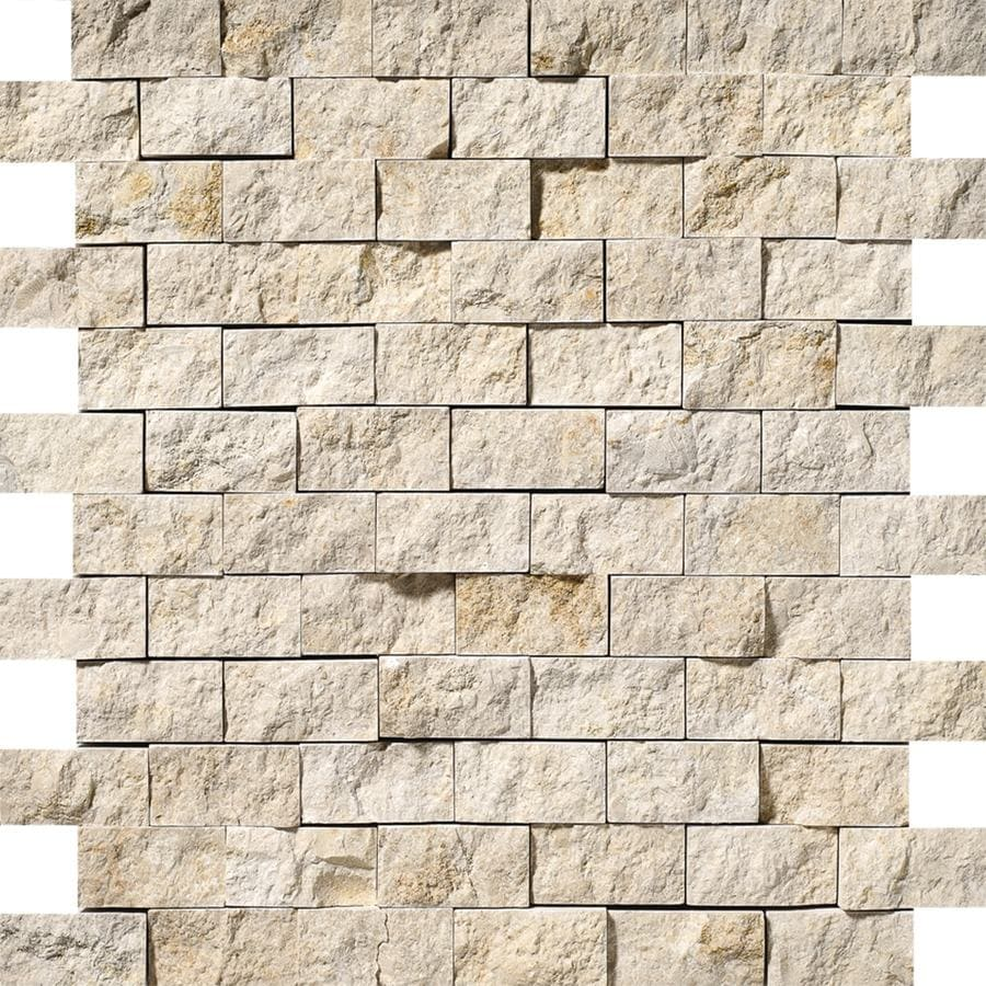 Bermar Natural Stone Shellstone Rock Face Limestone Floor and Wall Tile (Common: 12-in x 12-in; Actual: 11.75-in x 12-in)