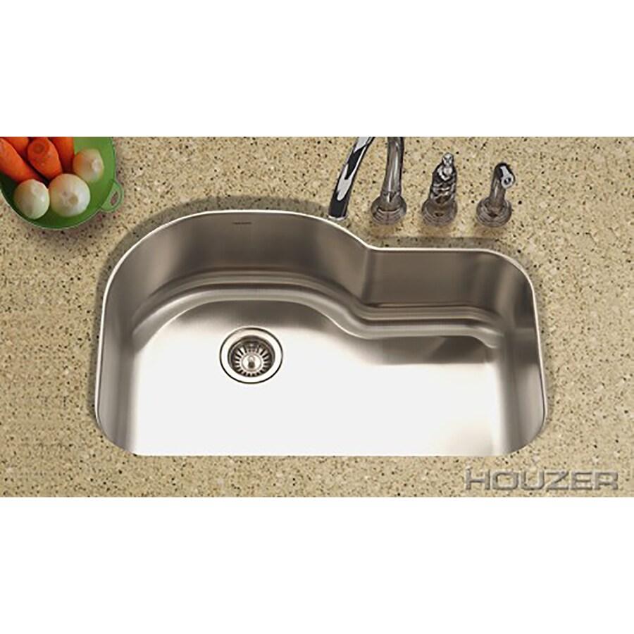 HOUZER Medallion 21-in x 32-in Lustrous Satin Single-Basin Stainless Steel Undermount Residential Kitchen Sink