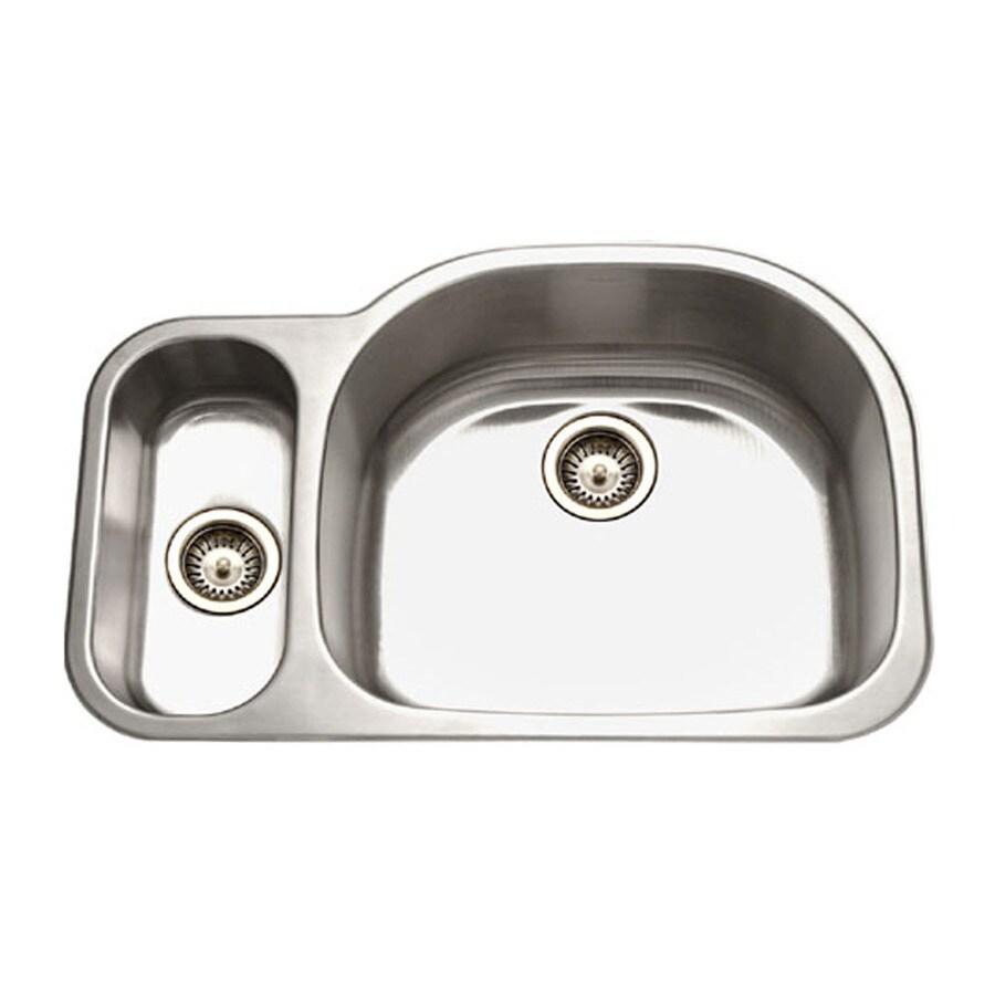 HOUZER Medallion 21-in x 32-in Lustrous Satin Double-Basin Stainless Steel Undermount Residential Kitchen Sink
