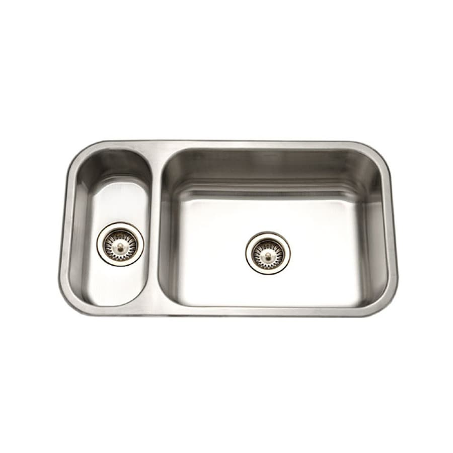 HOUZER Elite 18-in x 32-in Lustrous Satin Double-Basin Stainless Steel Undermount Residential Kitchen Sink